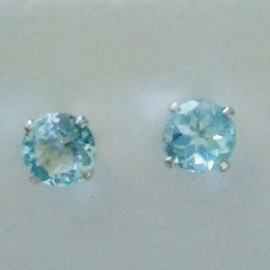 Jewelry - Handmade Blue Topaz Sterling Silver Stud Earrings